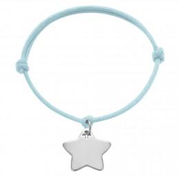 Bracelet avec étoile en argent sur un cordon épais bleu claire