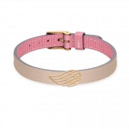 Bracelet en cuir bicolore avec une aile plaqué or ajourée