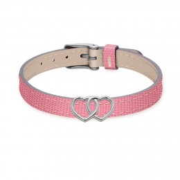 Bracelet en cuir bicolore avec des cœurs liés en argent
