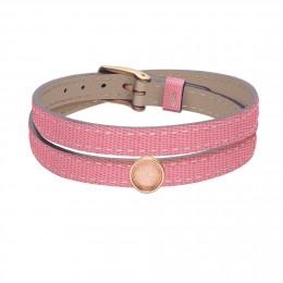 Bracelet en cuir double tour bicolore avec un médaillon plaqué or avec un cristal lilas