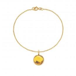 Bracelet avec pendentif quartz jaune sur chaîne fine classique, plaqué or