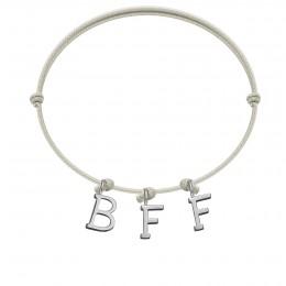 Bracelet BFF, lettres plaqué argent, sur cordon classique gris perle