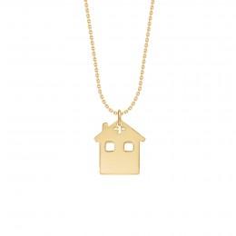 Collier avec maison sur chaîne fine classique, plaqué or