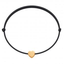 Bracelet avec un cœur Étincelle plaqué or sur un cordon fin noir