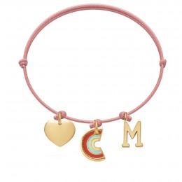 Bransoletka z sercem, zawieszką Rainbow i literką M na cienkim różowym sznurku