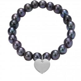 Bracelet en grandes perles foncées avec un coeur d'argent