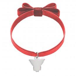 Bracelet sur ruban rouge avec un nœud et un ange en argent