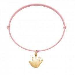 Bracelet avec un Talisman de Naissance plaqué or sur un cordon fin rose clair