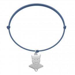 Bracelet avec un marin en argent sur un cordon fin de couleur jeans