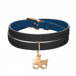 Bracelet en cuir double tour bicolore avec une poussette plaqué or
