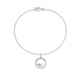 Bracelet avec pendentif quartz blanc sur chaîne fine classique, plaqué argent