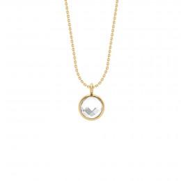 Collier avec pendentif quartz blanc sur chaîne fine classique, plaqué or