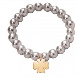 Bracelet en grandes perles d'argent avec un trèfle plaqué or