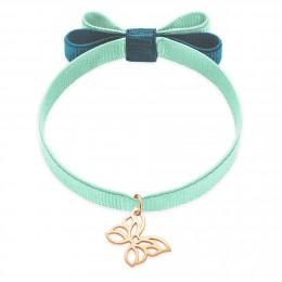Bracelet ruban double nœud de couleur menthe avec un papillon ajouré plaqué or