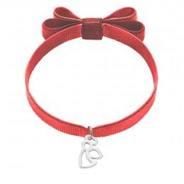 Bracelet sur ruban rouge avec un nœud et un ange ajouré en argent