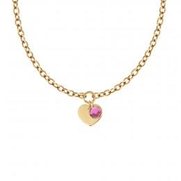 Collier Chaîne No.1 avec coeur et pendentif quartz rose, plaqué or