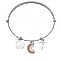 Bransoletka z medalikiem, zawieszką Rainbow i cyfrą 7 na cienkim jasnoszarym sznurku