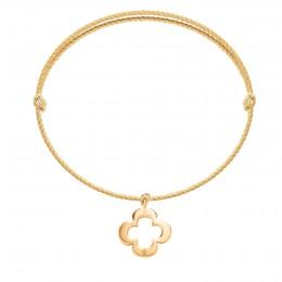 Bracelet avec un trèfle ajouré en or585 sur un cordon épais doré premium