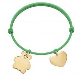 Bracelet avec ourson et cœur plaqués or sur un cordon épais vert gazon