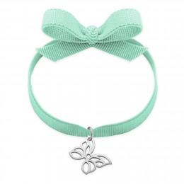 Bracelet ruban de couleur menthe avec un papillon ajouré en argent