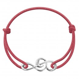 Bracelet avec clef de sol en argent sur un cordon épais de couleur framboise