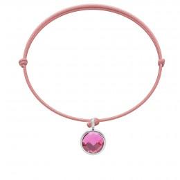 Bracelet avec pendentif quartz rose plaqué argent, sur cordon fin rose