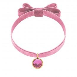 Bracelet avec pendentif quartz rose plaqué or, sur ruban double noeud rose pâle