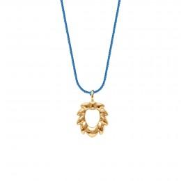 Naszyjnik z pozłacanym Lwem na grubym niebieskim sznurku premium