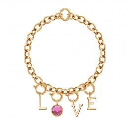 Bracelet LOVE avec pendentif quartz rose, plaqué or