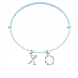 Bracelet XO, lettres plaqué argent, sur cordon classique bleu ciel