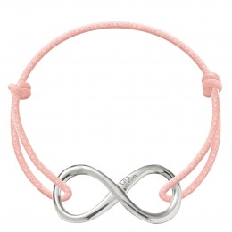 Bracelet avec signe de l'infini en argent sur un cordon épais rose claire