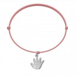 Bracelet avec un Talisman de Naissance en argent sur un cordon fin rose