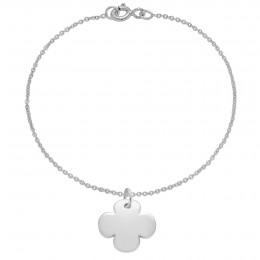 Bracelet avec trèfle rond en argent sur une chaîne fine classique