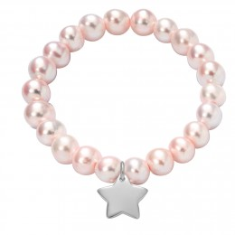 Bracelet en grandes perles roses avec une étoile d'argent