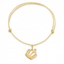 Bracelet avec une couronne Queen plaquée or sur un cordon épais doré premium