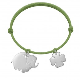 Bracelet avec éléphant et trèfle en argent sur un cordon épais vert pomme