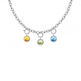 Collier chaîne No.1 avec pendentifs quartz jaune, vert et bleu