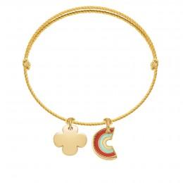 Bracelet avec trèfle rond et pendentif Rainbow sur cordon épais premium doré