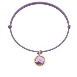 Bracelet avec pendentif quartz violet plaqué or, sur cordon fin lavande
