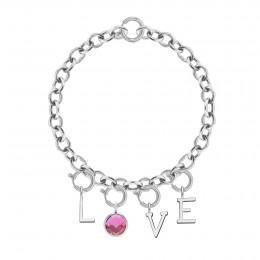 Bracelet LOVE avec pendentif quartz rose, plaqué argent