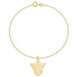 Bracelet sur chaîne à billes avec un ange plaqué or