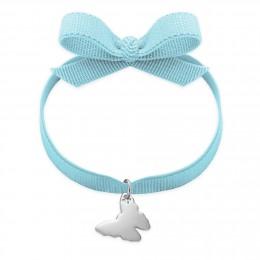 Bracelet ruban de couleur bleu ciel avec un papillon en argent