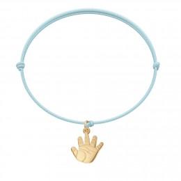 Bracelet avec un Talisman de Naissance plaqué or sur un cordon fin bleu clair