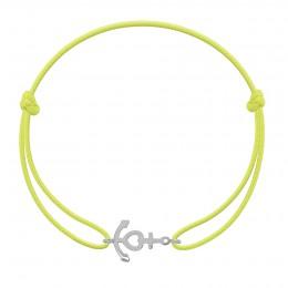Bracelet avec ancre en argent sur un cordon fin jaune fluo