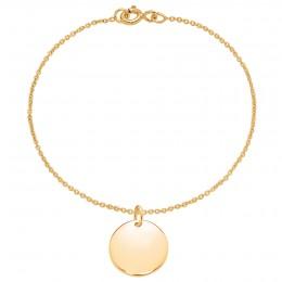 Bracelet avec médaillon plaqué or sur une chaîne fine classique
