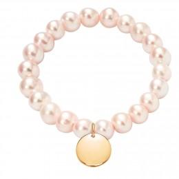 Bracelet en grandes perles rose saumon avec un médaille plaqué or