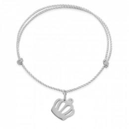 Bracelet avec une couronne Queen en argent sur un cordon épais argenté premium