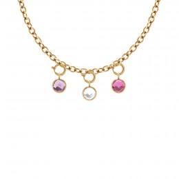 Collier chaîne No.1 avec pendentifs quartz violet, blanc et rose