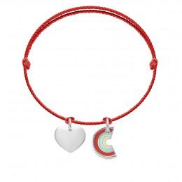Bransoletka z sercem i zawieszką Rainbow na grubym czerwonym sznurku premium