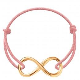 Bracelet avec signe de l'infini plaqué or sur un cordon épais rose